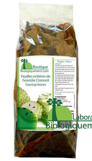 Acheter des feuilles entières de graviola corossol sur la boutique biologiquement.com