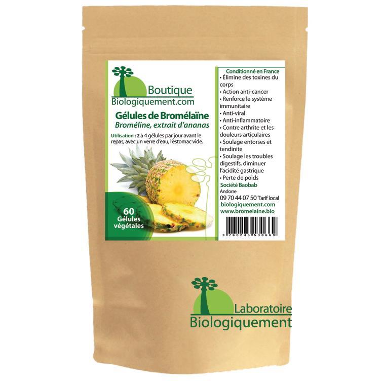 Acheter de la bromélaïne broméline une enzyme extraite de la tige d'ananas traitement naturel du cancer sur la boutique Biologiquement.com